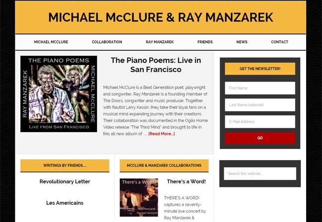 Michael McClure and Ray Manzarek website